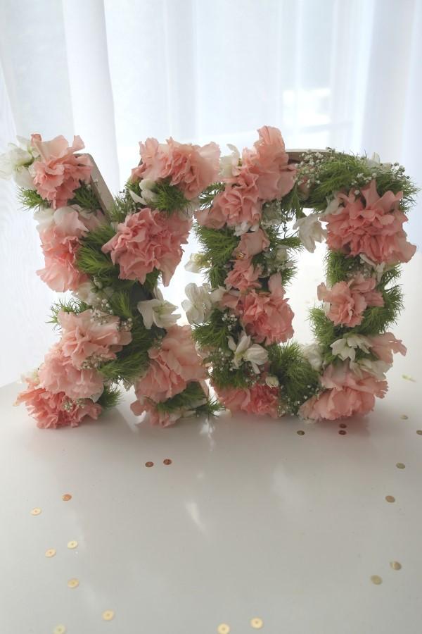 DIY Flower Letter Centerpiece