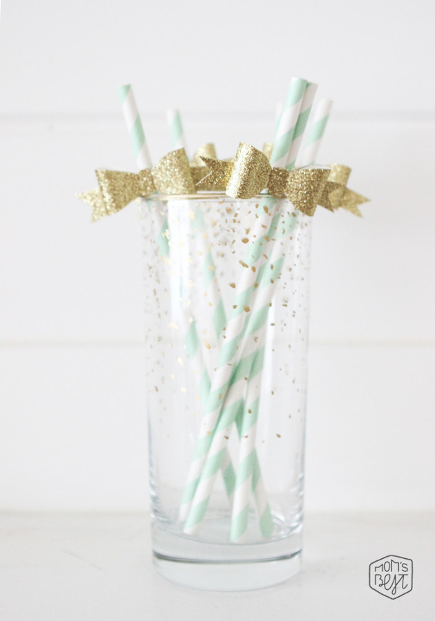Mint and gold straws