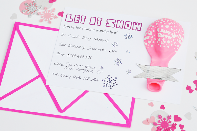 free snow themed baby shower invitation