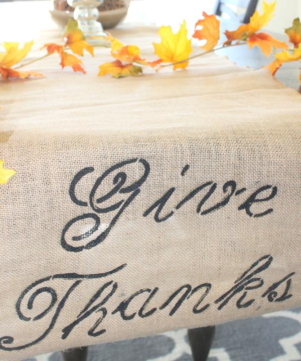 Give Thanks DIY Burlap Runner tutorial