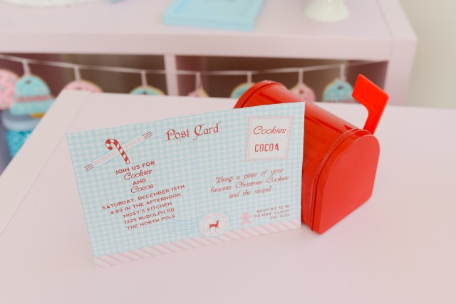 mini red mailbox with printable cookie exchange invitation