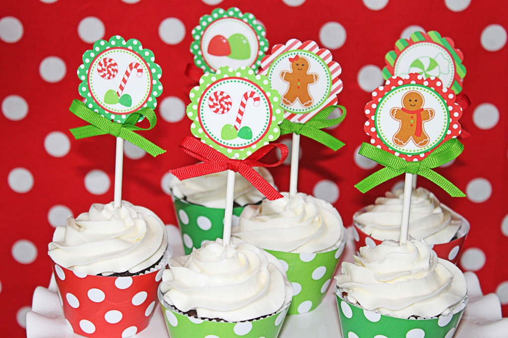 Christmas Cupcake Toppers Free Printable.Sweetly Feature Gingerbread Man Christmas Party Sweetly