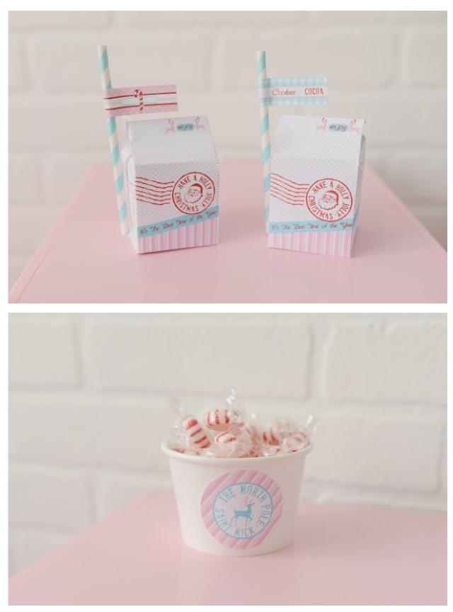 printable milk carton favors and paper candy bowl