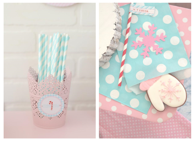 blue and white paper straws and blue and pink mitten cookies