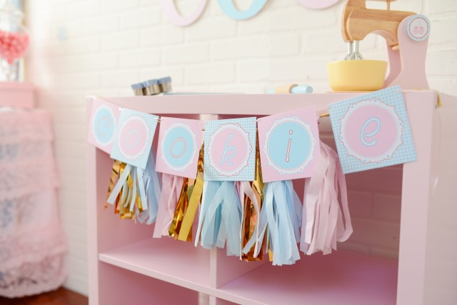 cookie banner and party tassels