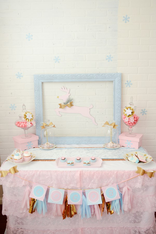 pink and blue cookie exchange party