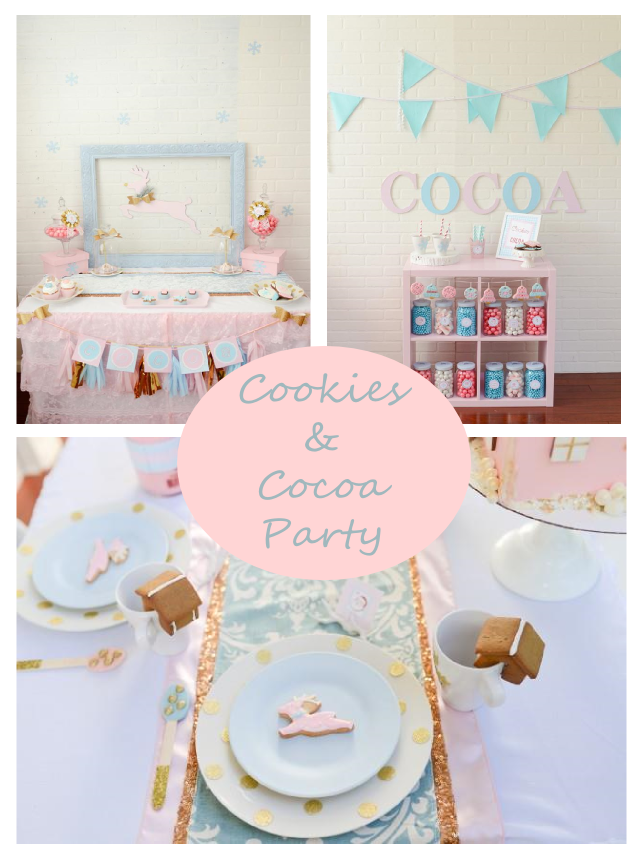 pink and blue christmas cookie party