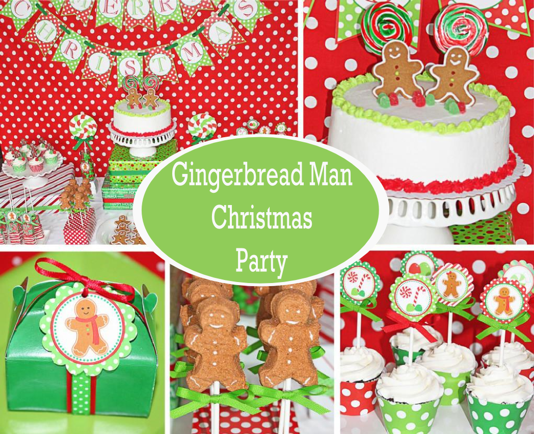 red and green gingerbread man themed christmas party - Childrens Christmas Party Decoration Ideas