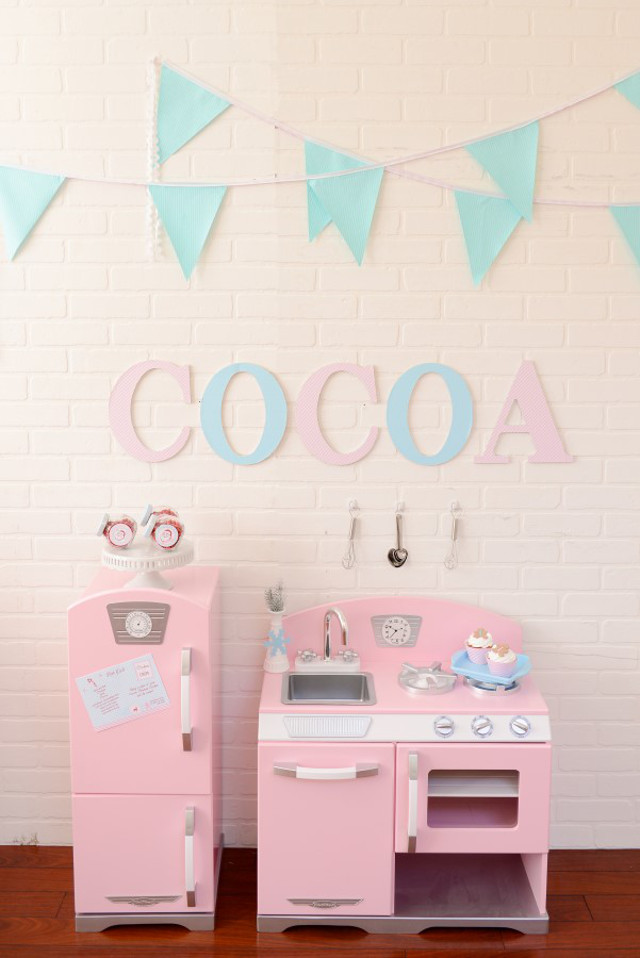 kids pink retro play kitchen