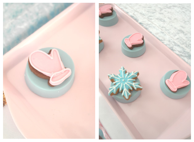 pink and blue winter chocolate covered oreos snowflakes and mittens