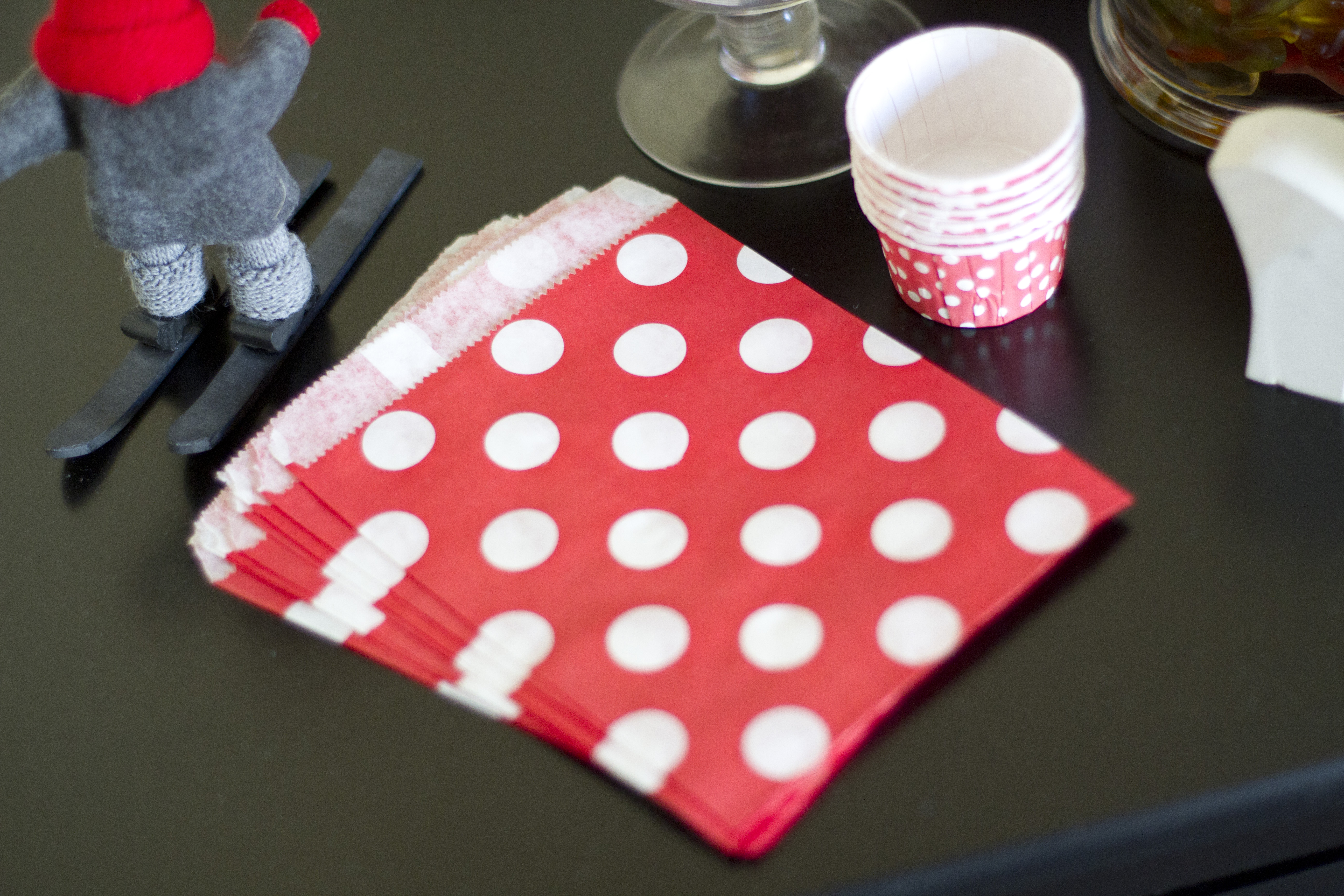 red and white polka dot napkins and baking cups