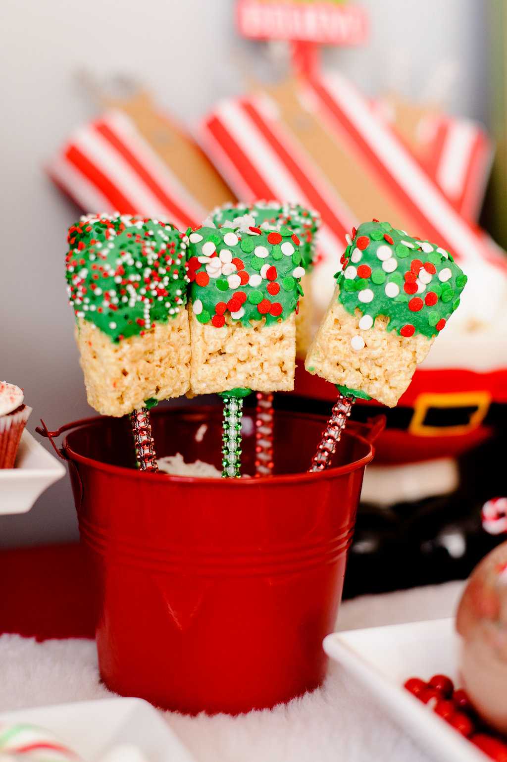 chocolate covered rice krispy treats at christmas party