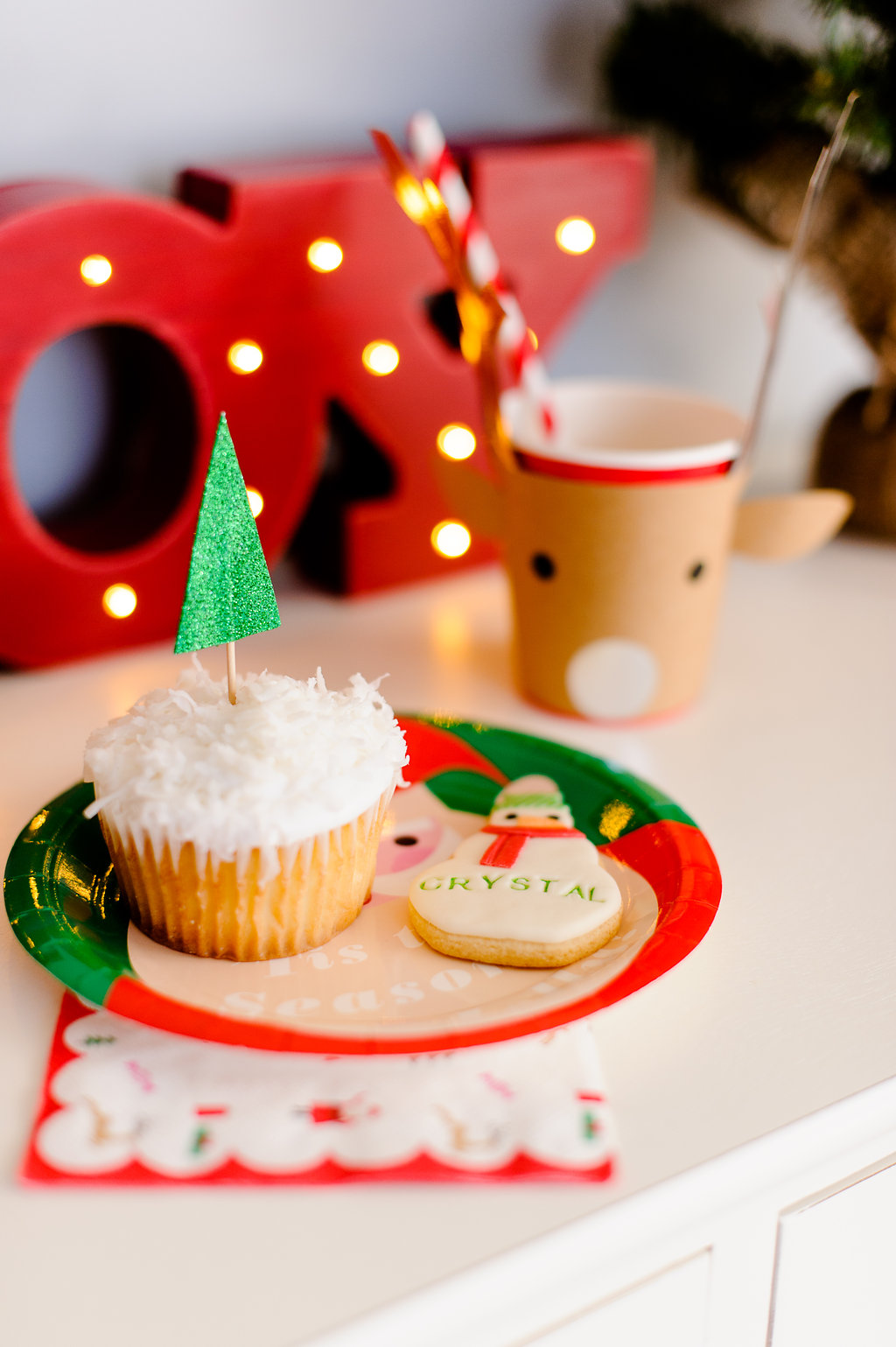 Land of Nod Christmas cupcake toppe, paper plate and reindeer cup