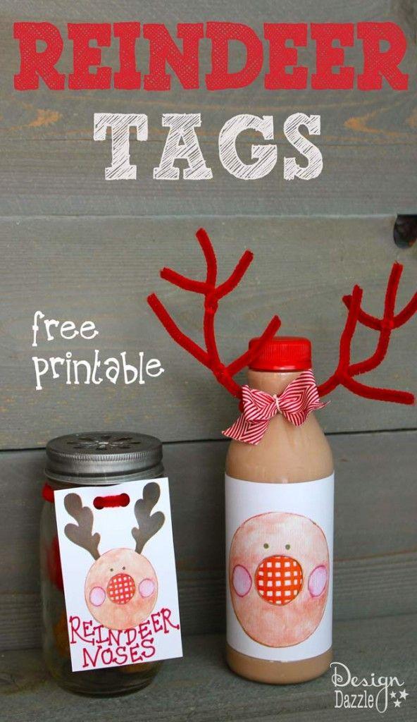 free printable reindeer christmas tags