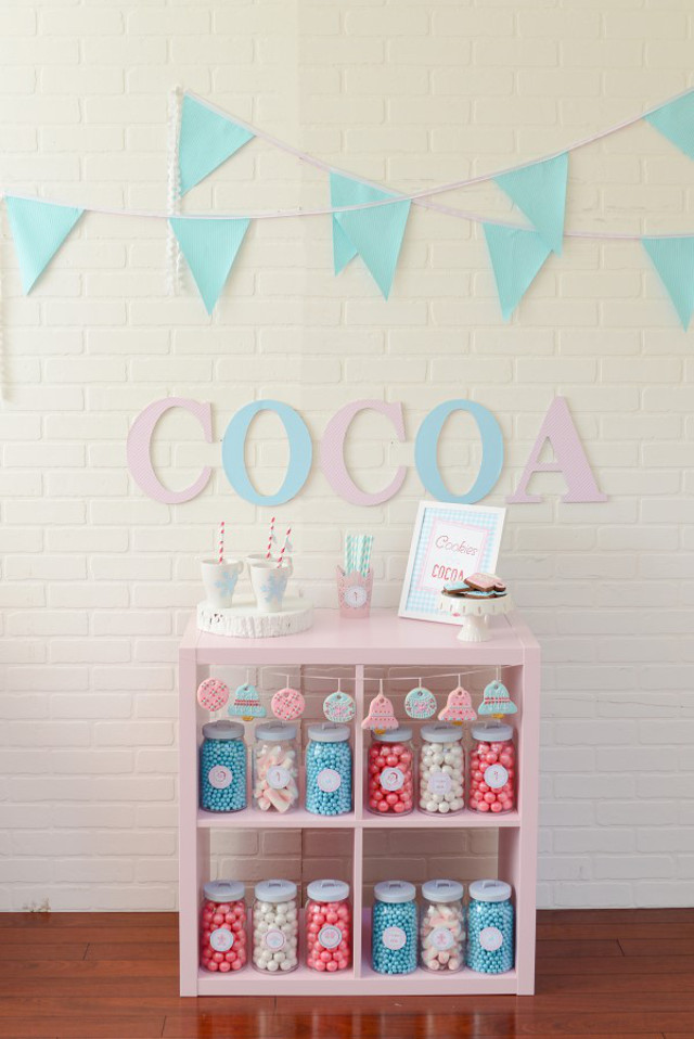 pink and blue hot cocoa bar with candy