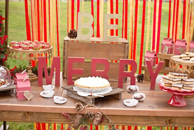 vintage glam christmas party be merry sign and dessert table