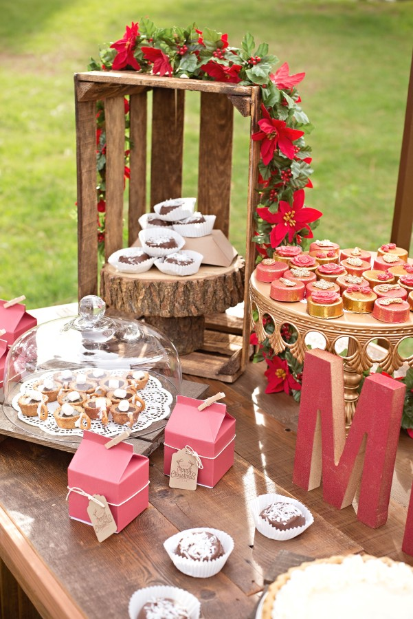 dessert bar at a vintage glam christmas party