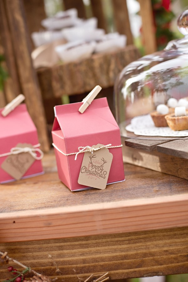 custom milk cartons at a vintage glam christmas party