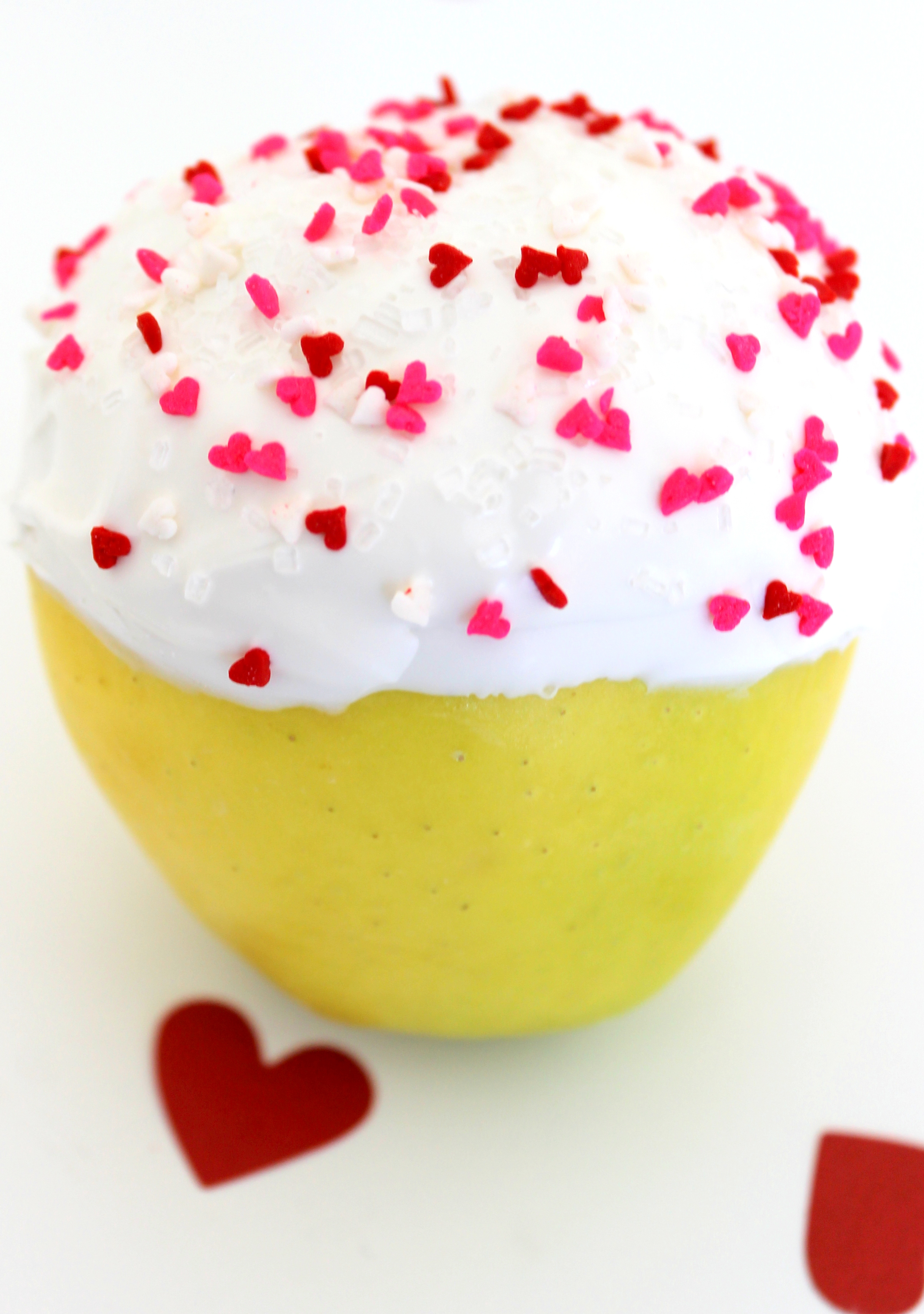 DIY Valentine's Day Apple Close up Decorated