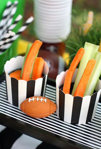 Football Veggie and Dip Cups