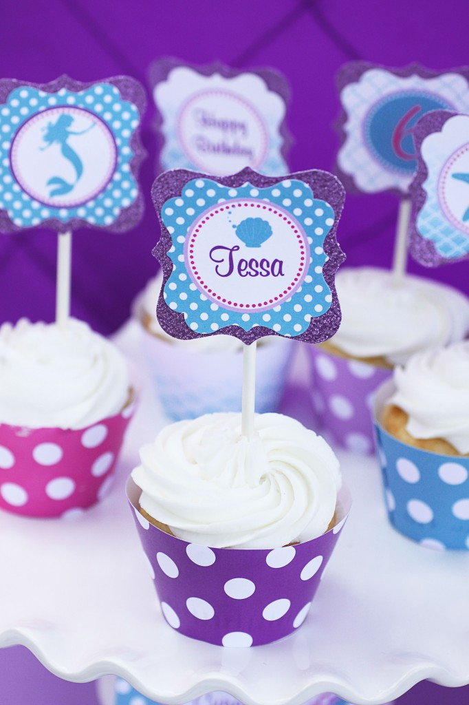 Little Mermaid Party Cupcake Toppers and Wrappers