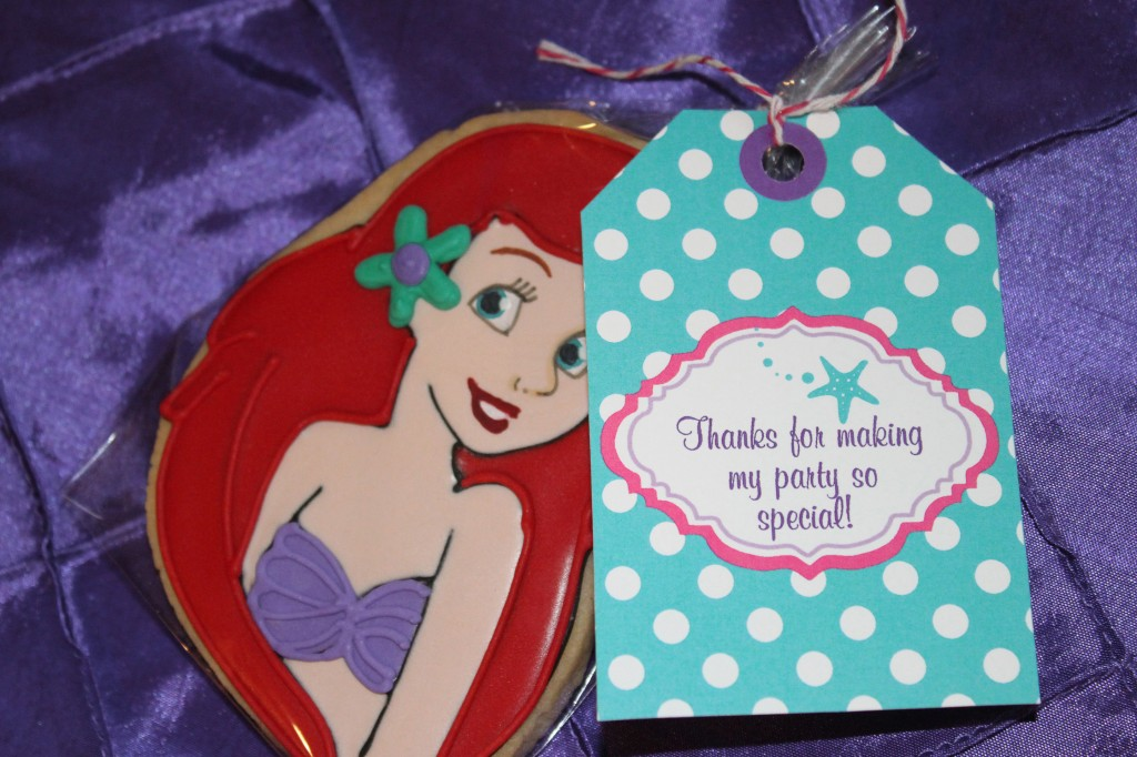 Little Mermaid Party Thank You Tags and Cookies