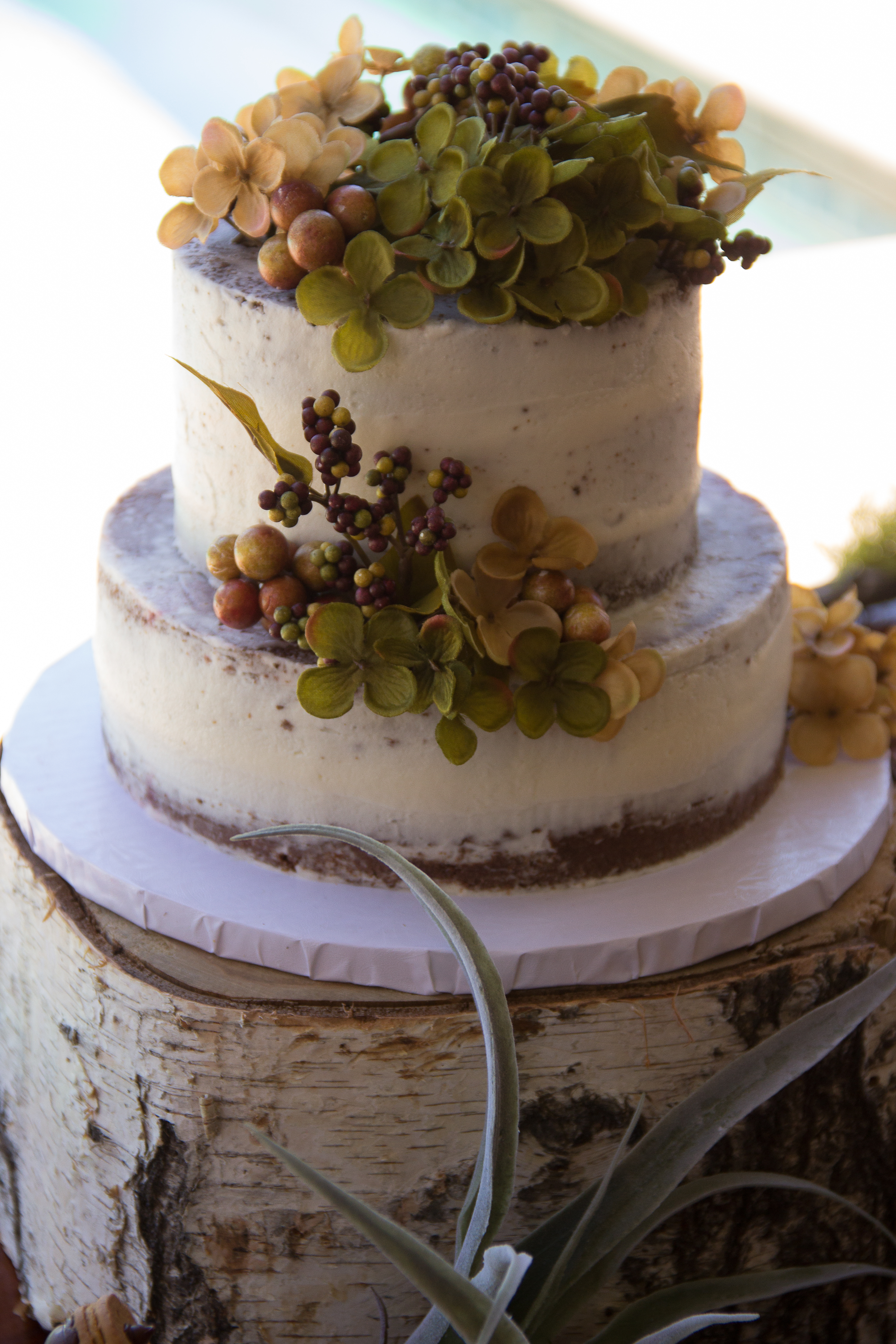 Naked Cake with Floral decor at Woodland Baby Showe