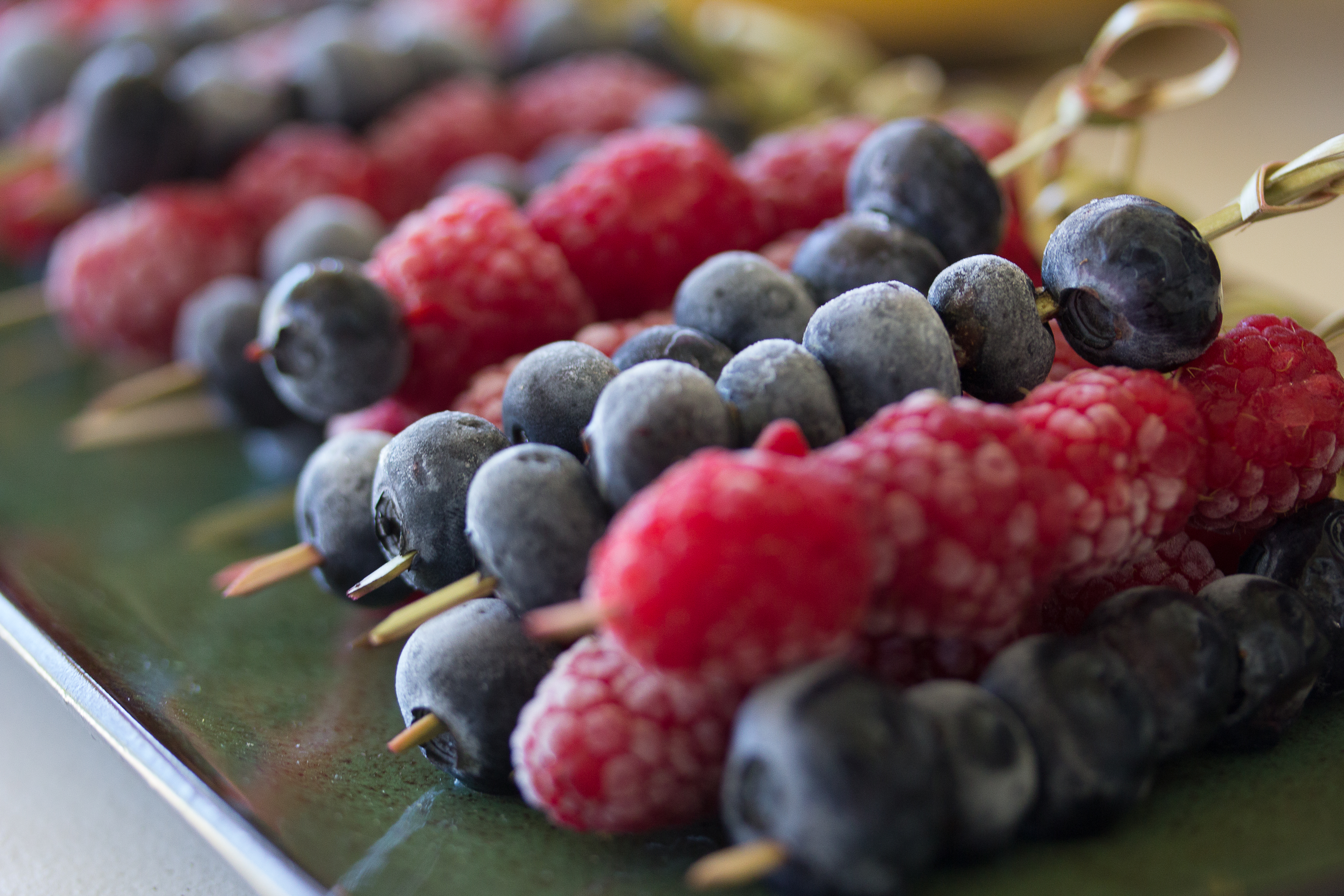 Raspberry and Blueberry Skewers