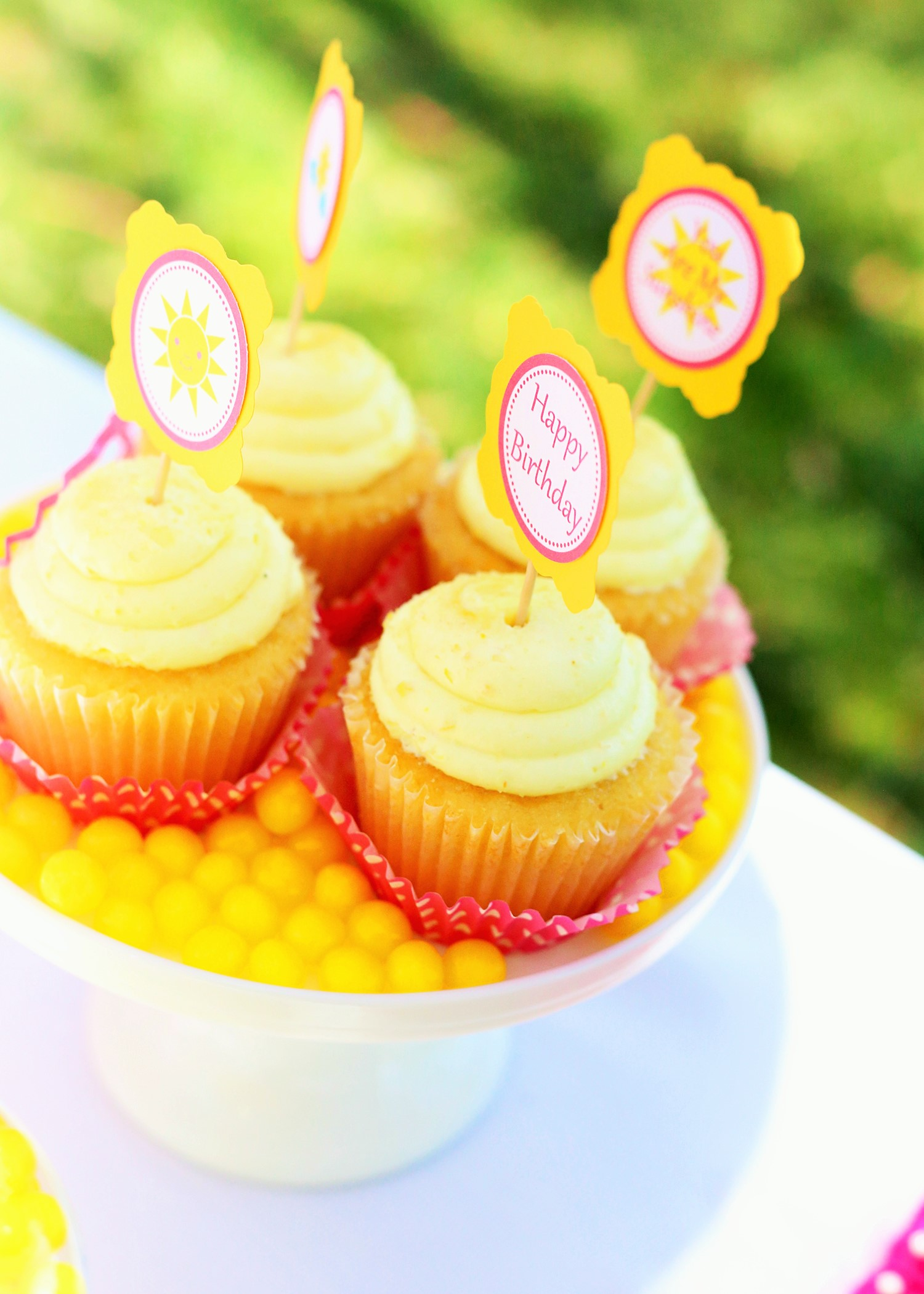 sunshine and lemonade party cupcakes with toppers