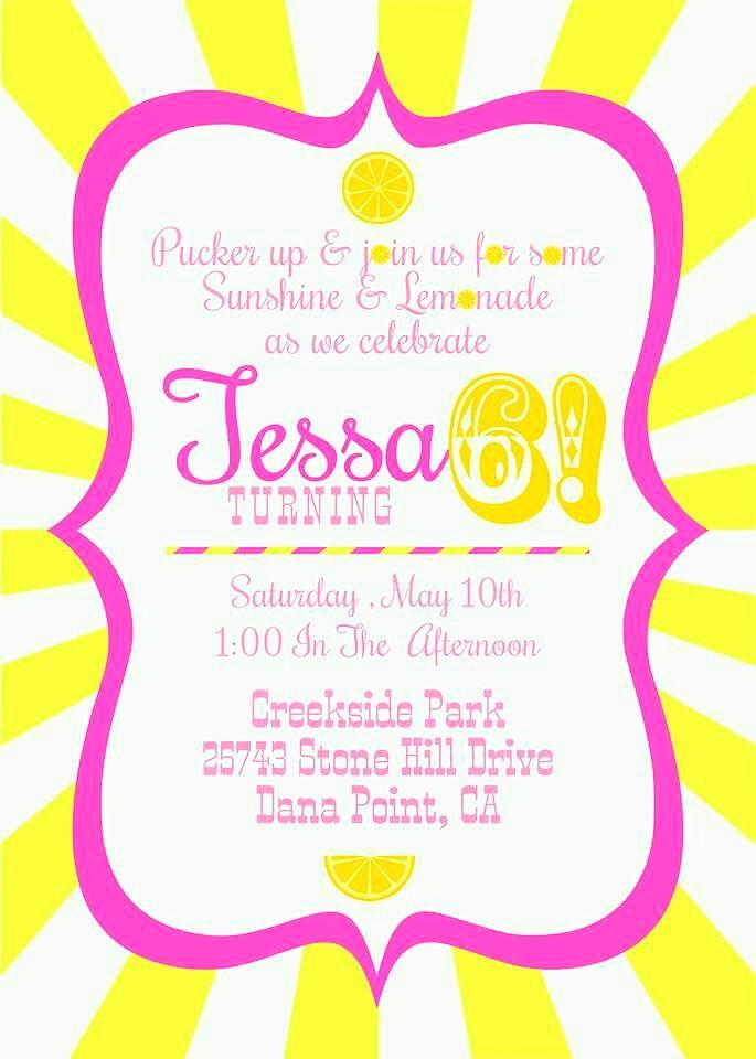 sunshine and lemonade party invitation