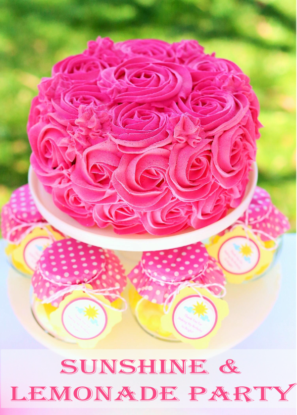 Sunshine & Lemonade Party Rosette Cake and Party Favors