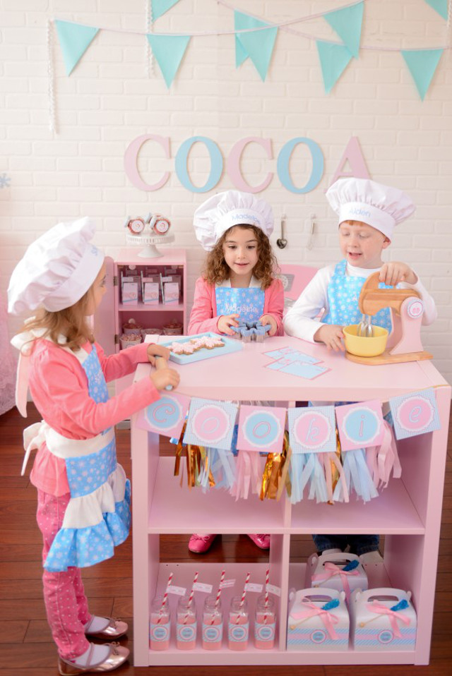 pink and blue cookie baking party