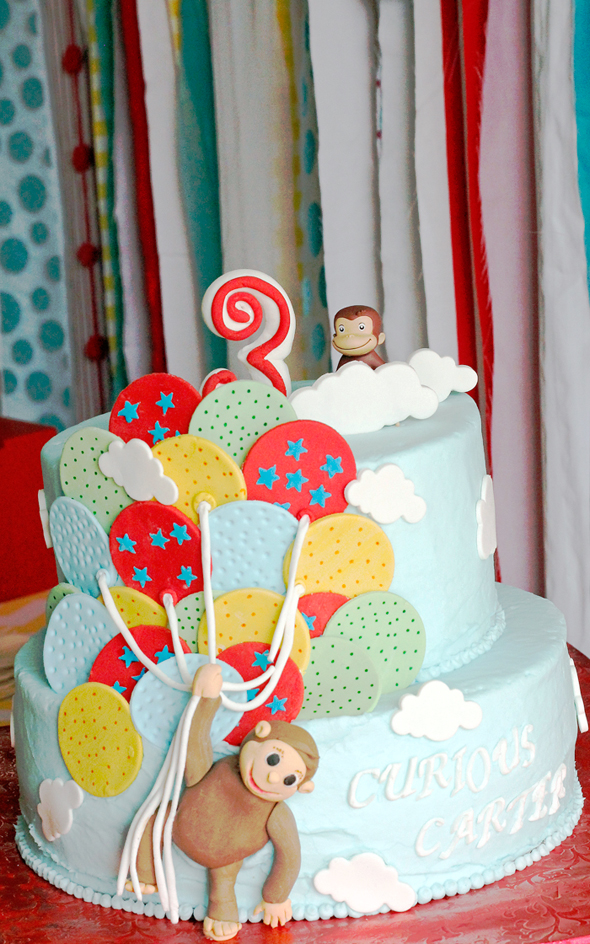 curious-george cake with balloons