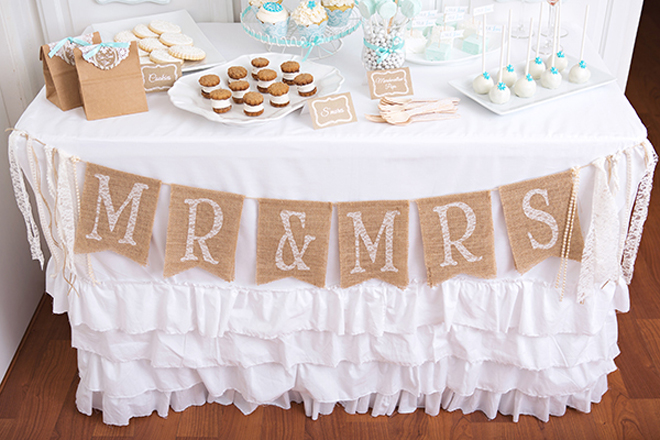 Burlap Banner For A Lace Pearls Bridal Shower