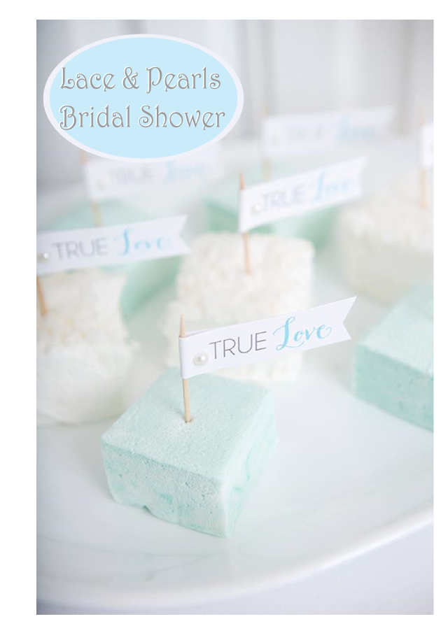 lace and pearls blue and white themed bridal shower