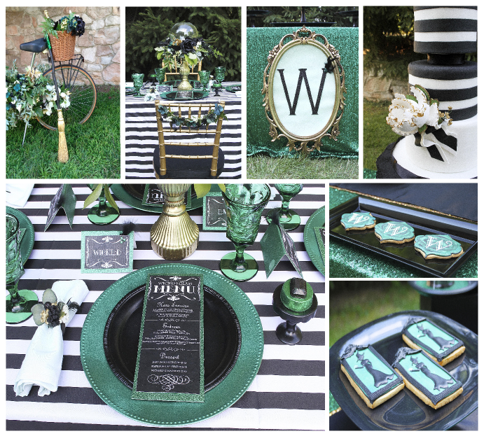 emerald and black simply wicked, wicked witch inspired,  dinner party