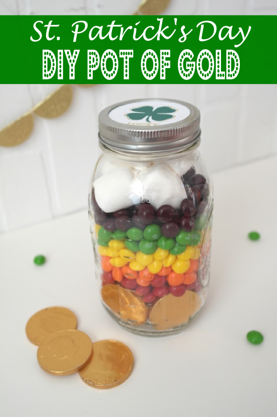 diy st patricks day pot of gold candy mason jar favor
