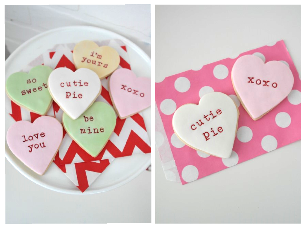 valentines day conversation heart cookies