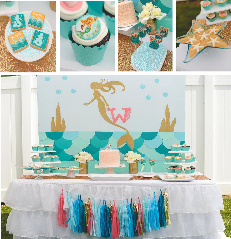 coral and teal vintage mermaid birthday party with cookies, cupcakes, cakepops, tassels and more
