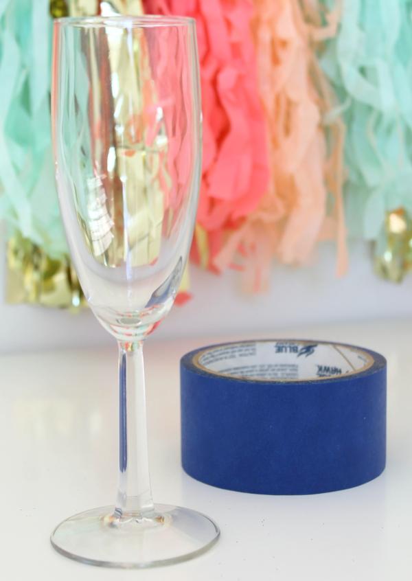 DIY Glittered Champagne Flute Tape