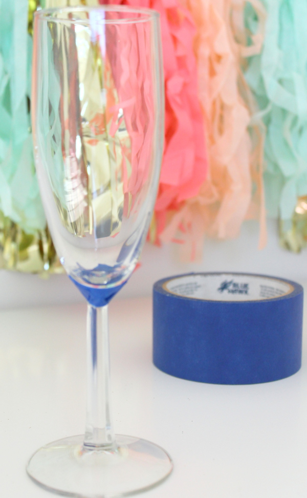 DIY Glittered Champagne Flute Taped