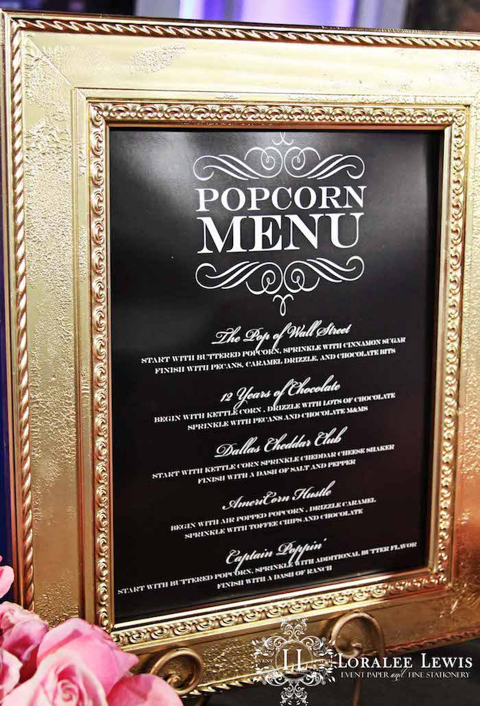 Loralee Lewis Oscar Party Popcorn Bar Menu