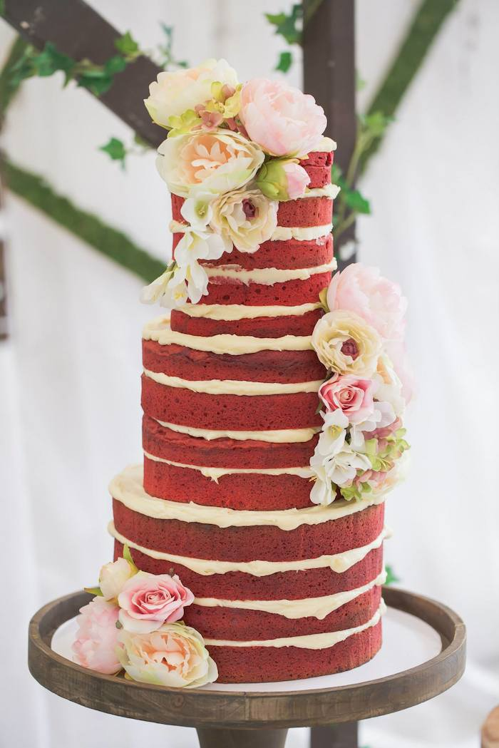 Rustic Bridal Shower Red Velvet Naked Cake