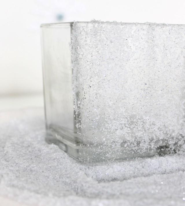 diy snow glitter vase