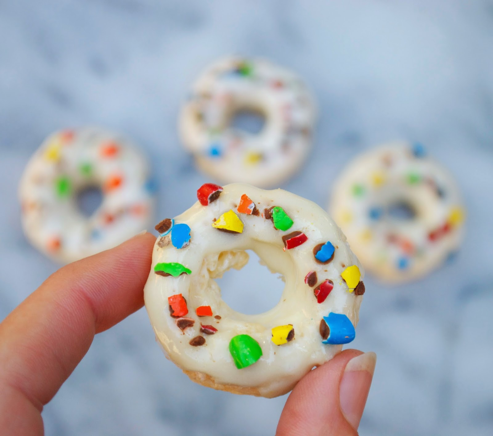 Rice Krispie Mini Donuts with M&Ms