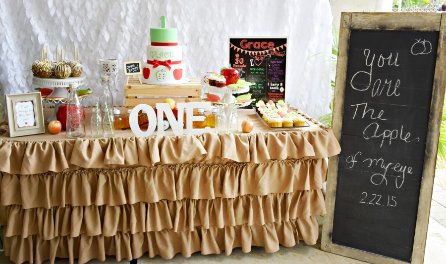 apple themed dessert table