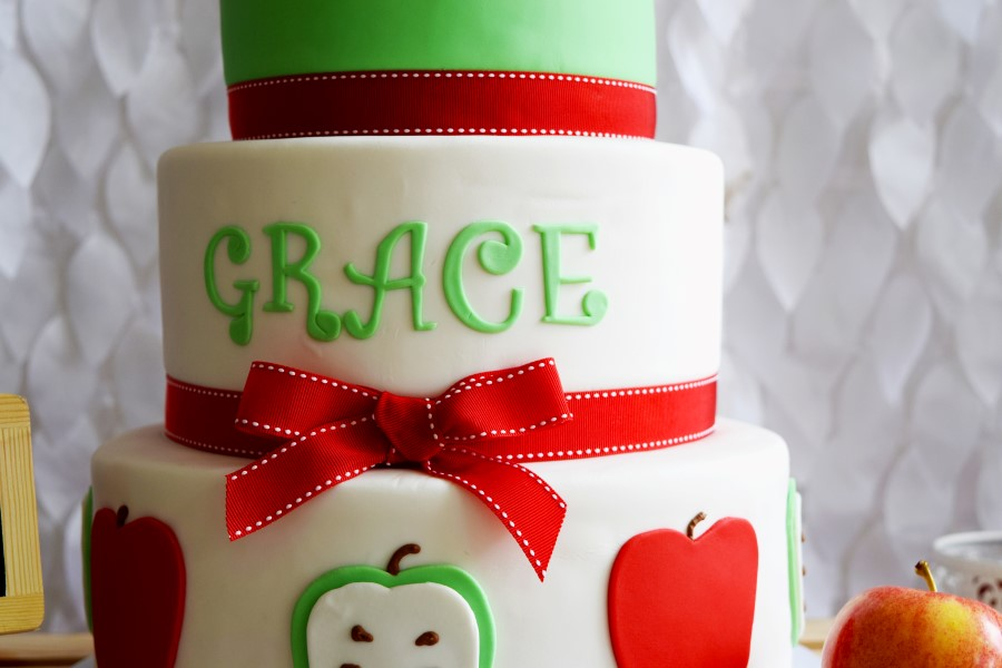 apple themed birthday cake