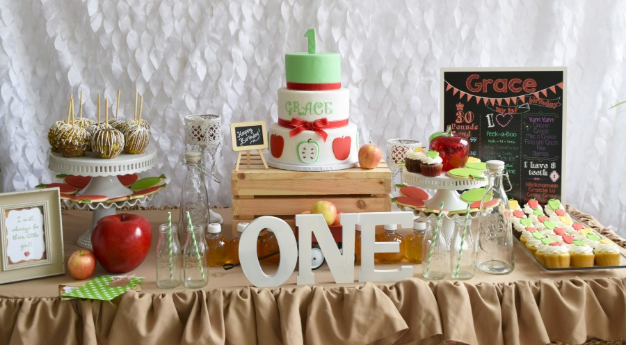 apple themed first birthday party