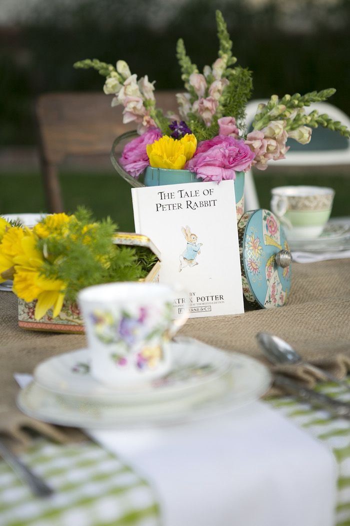 beatrix potter easter party centerpiece
