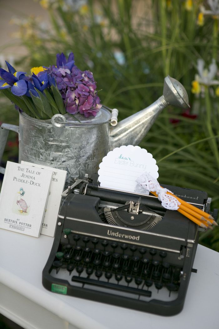 beatrix potter easter party vintage typewriter
